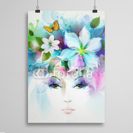 Poster Beautiful fashion women face