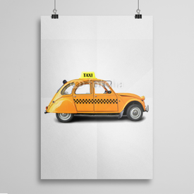 Poster Taxi, retro car orange color on the white background