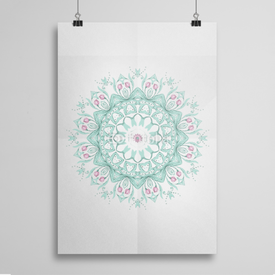 Poster Watercolor mandala on white background