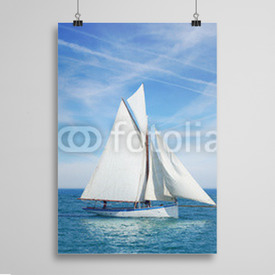 Poster Seascape with sailboat the background of the blue sky.