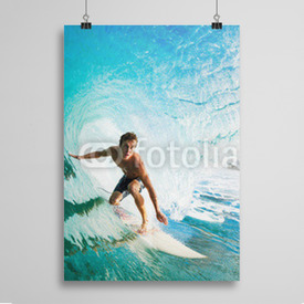 Poster Surfer on Blue Ocean Wave in the Tube Getting Barreled