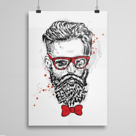 Poster Hipster w muszce