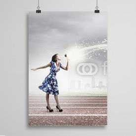 Poster Woman with megaphone