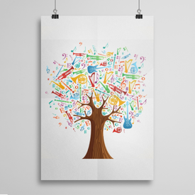 Poster Abstract musical tree made with instruments