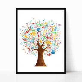 Plakat w ramie Abstract musical tree made with instruments