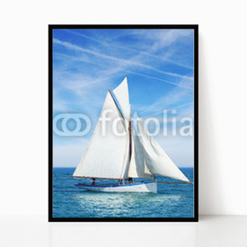 Plakat w ramie Seascape with sailboat the background of the blue sky.