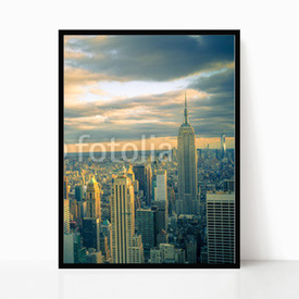 Plakat w ramie New York City wieczorem