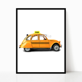Plakat w ramie Taxi, retro car orange color on the white background