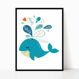 Plakat w ramie Whale in love
