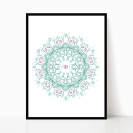 Plakat w ramie Watercolor mandala on white background