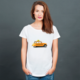 Bluzka damska oversize Taxi, retro car orange color on the white background