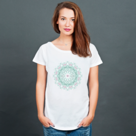 Bluzka damska oversize Watercolor mandala on white background