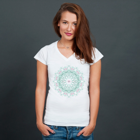 Bluzka damska w serek Watercolor mandala on white background