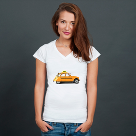 Bluzka damska w serek Taxi, retro car orange color on the white background