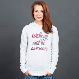Longsleeve z kapturem unisex Wake up and be awesome