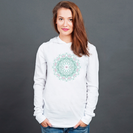 Longsleeve z kapturem unisex Watercolor mandala on white background