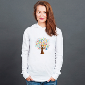 Longsleeve z kapturem unisex Abstract musical tree made with instruments