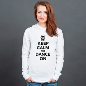 Longsleeve z kapturem unisex Keep Calm and Dance on