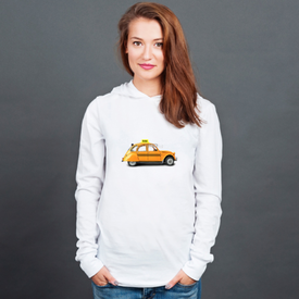 Longsleeve z kapturem unisex Taxi, retro car orange color on the white background