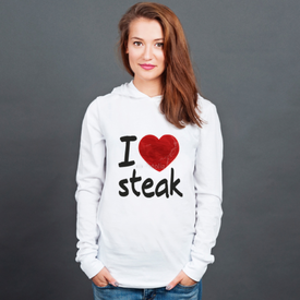 Longsleeve z kapturem unisex I love steak