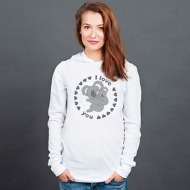 Longsleeve z kapturem unisex Koala I love you