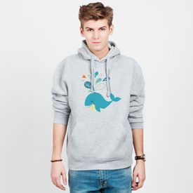 Bluza męska z kapturem Whale in love