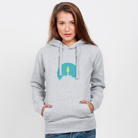 Bluza z kapturem damska Yellow rocket and white cloud, circle icon in flat style, vector