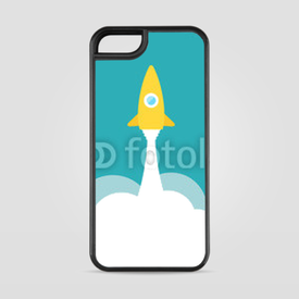 Etui na iPhone 5/5s/5SE Yellow rocket and white cloud, circle icon in flat style, vector
