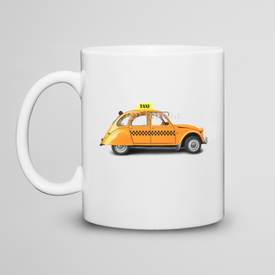 Kubek do herbaty Taxi, retro car orange color on the white background