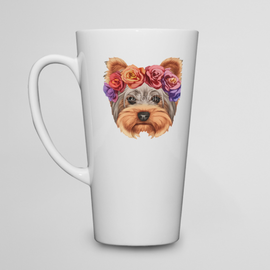 Kubek do kawy latte  Yorkshire Terrier w wianku