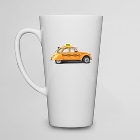 Kubek do kawy latte Taxi, retro car orange color on the white background