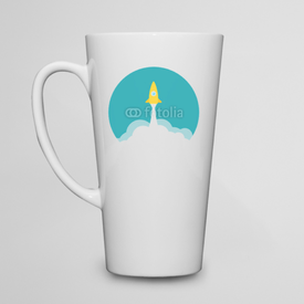 Kubek do kawy latte Yellow rocket and white cloud, circle icon in flat style, vector