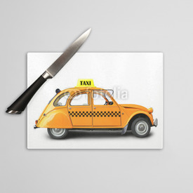 Deska do krojenia Taxi, retro car orange color on the white background