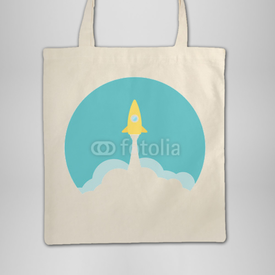 Torba bawełniana Yellow rocket and white cloud, circle icon in flat style, vector