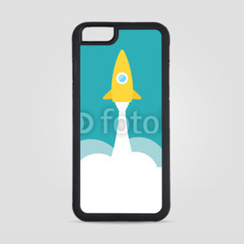 Obudowa na iPhone 6/6s Yellow rocket and white cloud, circle icon in flat style, vector