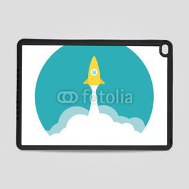Obudowa na iPad Air 2 Yellow rocket and white cloud, circle icon in flat style, vector
