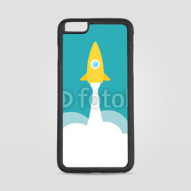 Etui na iPhone 6 Plus/6s Plus Yellow rocket and white cloud, circle icon in flat style, vector