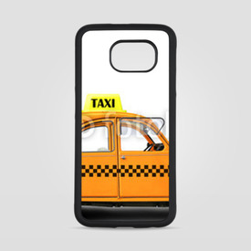 Obudowa na Samsung Galaxy S6 Taxi, retro car orange color on the white background