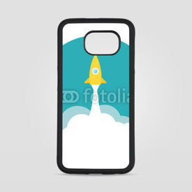 Obudowa na Samsung Galaxy S6 Yellow rocket and white cloud, circle icon in flat style, vector