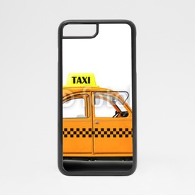 Obudowa na iPhone 7 Taxi, retro car orange color on the white background