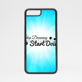 Obudowa na iPhone 7 Stop dreaming strart doing phrase, typographic lettering logo on