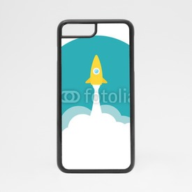 Obudowa na iPhone 7 Yellow rocket and white cloud, circle icon in flat style, vector