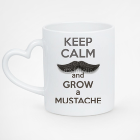 Kubek serce biały Keep Calm and grow a Mustaches