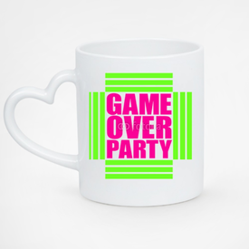 Kubek serce biały Game Over Party Neon