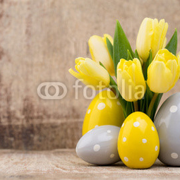 Spring decor, yellow tulips with...