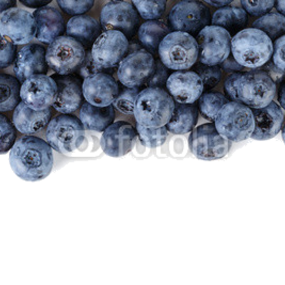 border from ripe washed blueberries